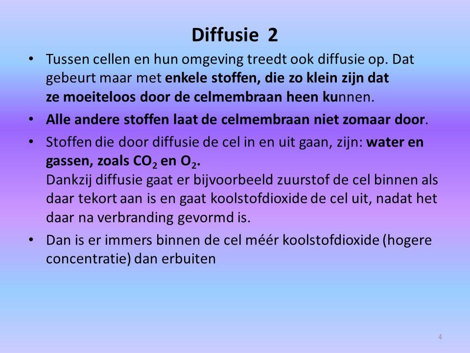 Diffusie 2 Tussen cellen en hun omgeving treedt ook diffusie op. Dat gebeurt maar met enkele stoffen, die zo klein zijn dat ze moeiteloos door de celm