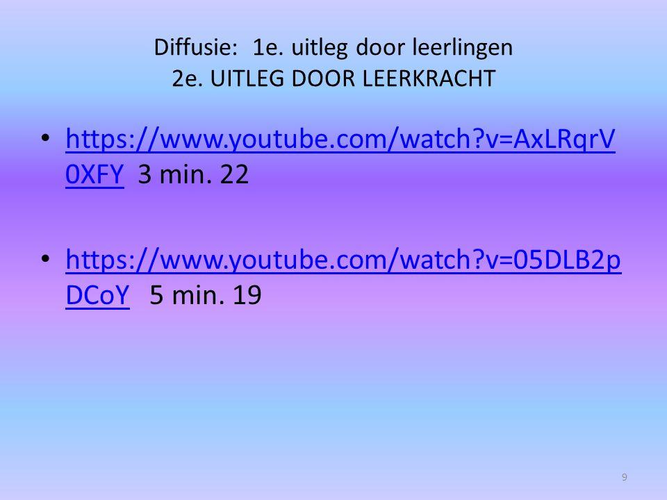 Diffusie: 1e. uitleg door leerlingen 2e. UITLEG DOOR LEERKRACHT https://www.youtube.com/watch?v=AxLRqrV 0XFY 3 min. 22 https://www.youtube.com/watch?v