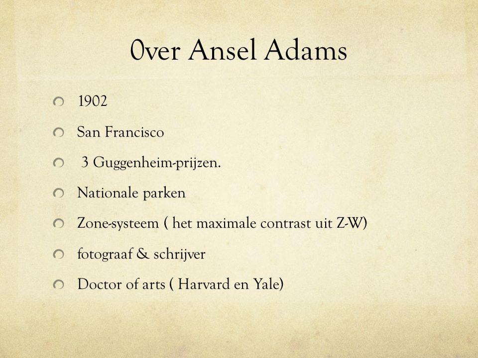 0ver Ansel Adams 1902 San Francisco 3 Guggenheim-prijzen. Nationale parken Zone-systeem ( het maximale contrast uit Z-W) fotograaf & schrijver Doctor