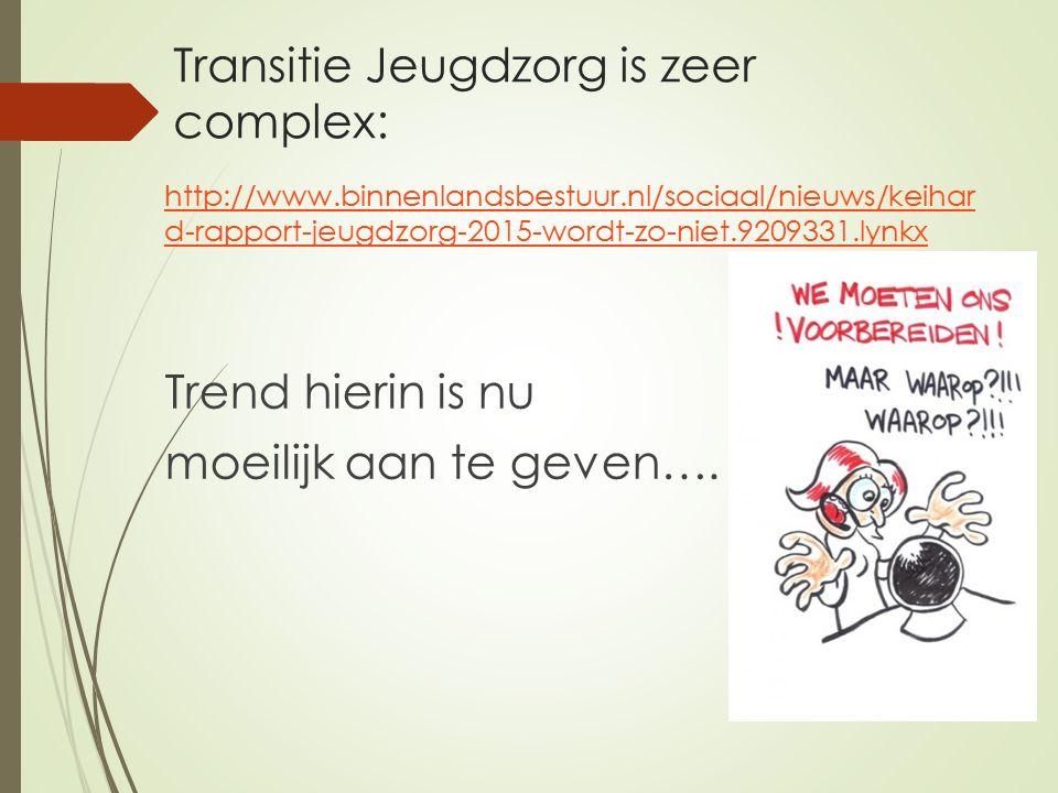 Transitie Jeugdzorg is zeer complex: http://www.binnenlandsbestuur.nl/sociaal/nieuws/keihar d-rapport-jeugdzorg-2015-wordt-zo-niet.9209331.lynkx Trend