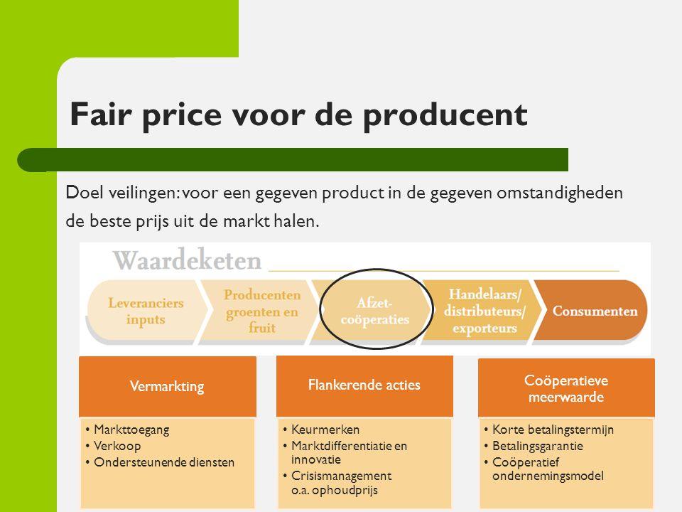 Fair price voor de producent Vermarkting Markttoegang Verkoop Ondersteunende diensten Flankerende acties Keurmerken Marktdifferentiatie en innovatie C
