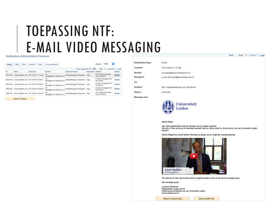 TOEPASSING NTF: E-MAIL VIDEO MESSAGING