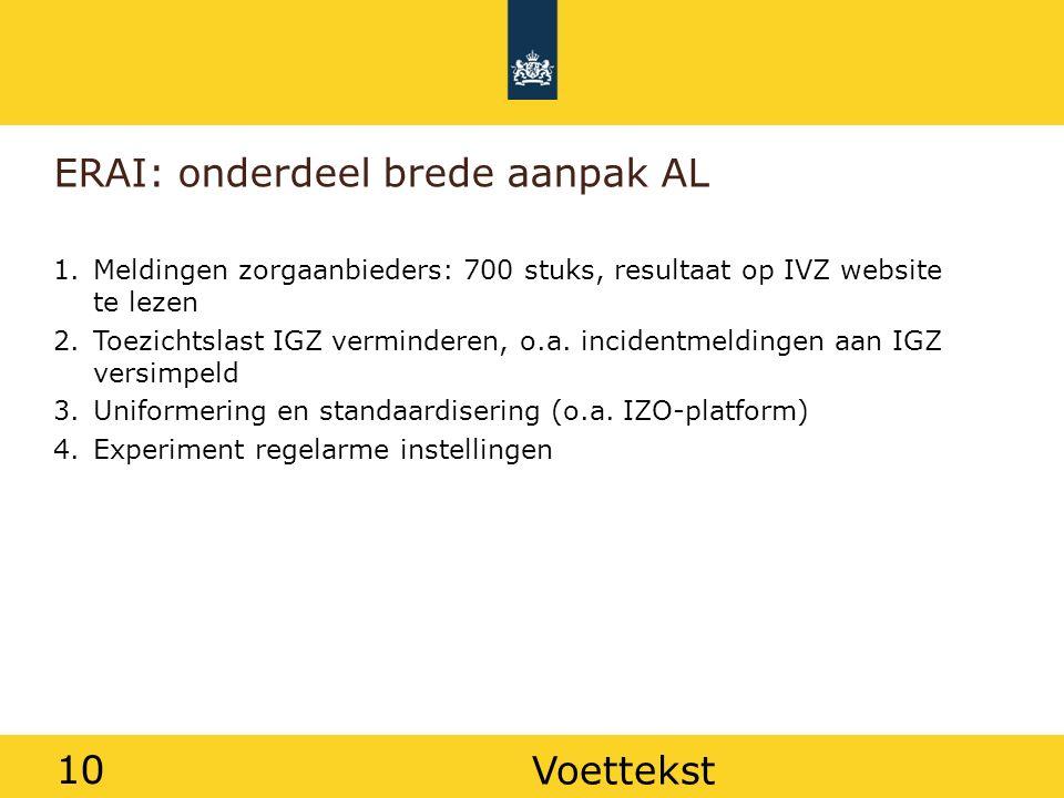 10 ERAI: onderdeel brede aanpak AL 1.Meldingen zorgaanbieders: 700 stuks, resultaat op IVZ website te lezen 2.Toezichtslast IGZ verminderen, o.a.
