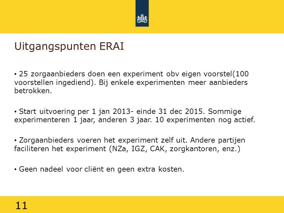 11 Uitgangspunten ERAI 25 zorgaanbieders doen een experiment obv eigen voorstel(100 voorstellen ingediend). Bij enkele experimenten meer aanbieders be