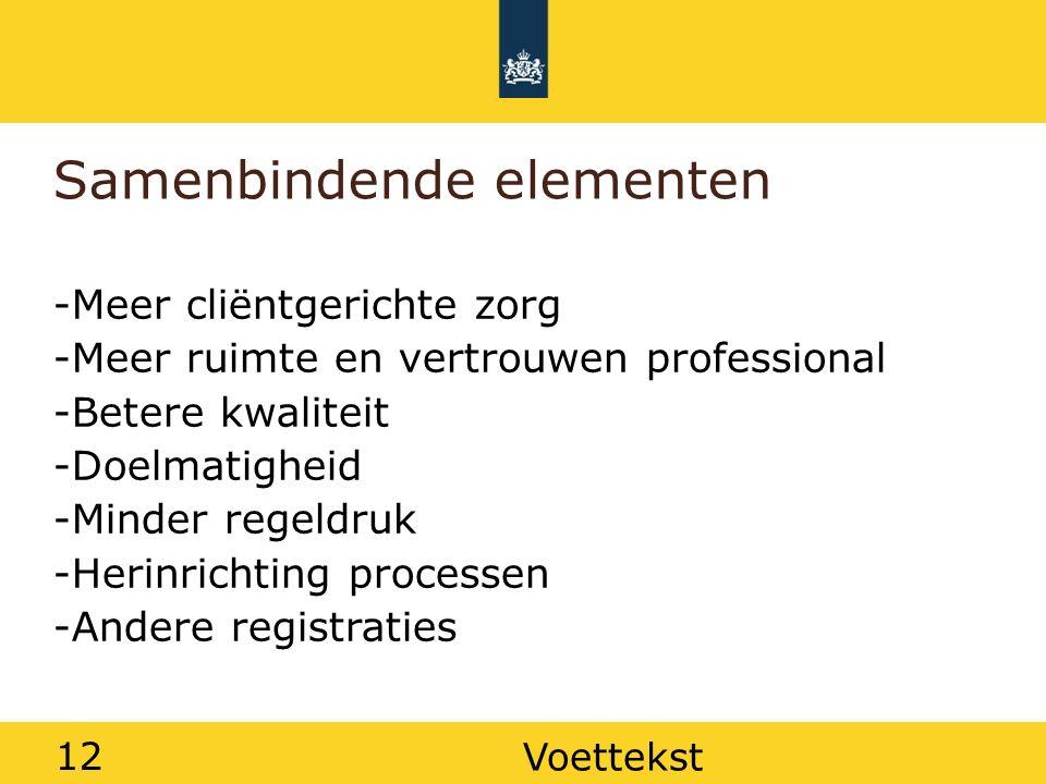 12 Samenbindende elementen -Meer cliëntgerichte zorg -Meer ruimte en vertrouwen professional -Betere kwaliteit -Doelmatigheid -Minder regeldruk -Herin