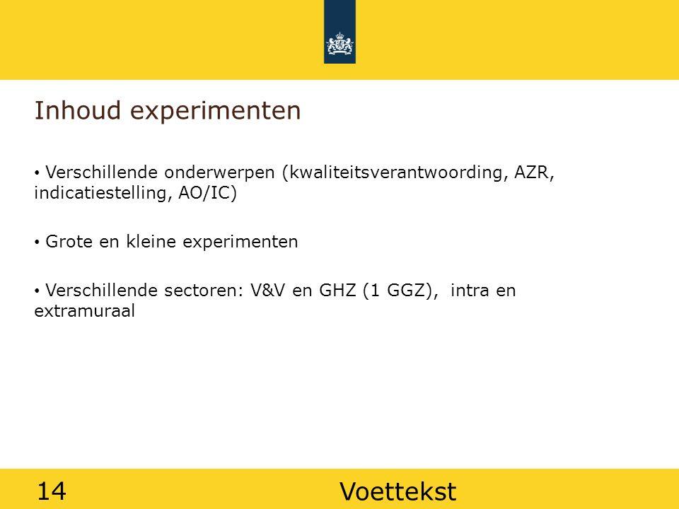 14 Inhoud experimenten Verschillende onderwerpen (kwaliteitsverantwoording, AZR, indicatiestelling, AO/IC) Grote en kleine experimenten Verschillende sectoren: V&V en GHZ (1 GGZ), intra en extramuraal Voettekst 14
