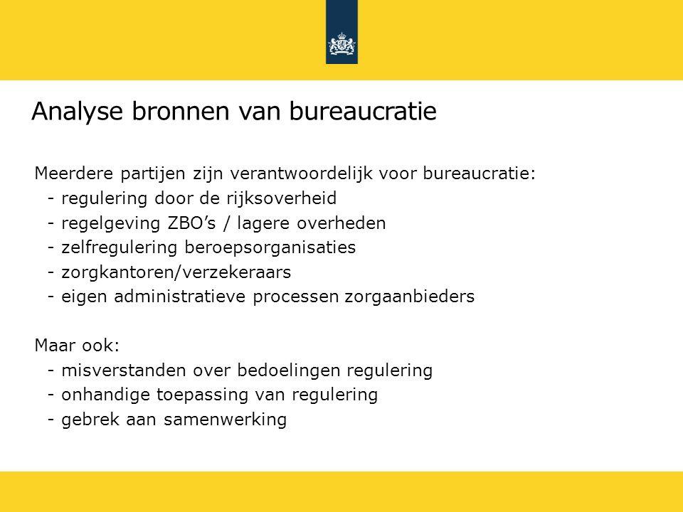 8 Analyse bronnen van bureaucratie Meerdere partijen zijn verantwoordelijk voor bureaucratie: -regulering door de rijksoverheid -regelgeving ZBO's / l