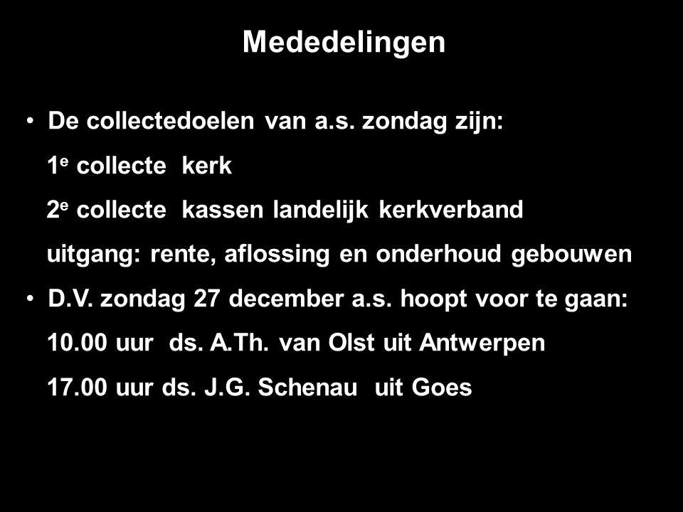 Mededelingen De collectedoelen van a.s.