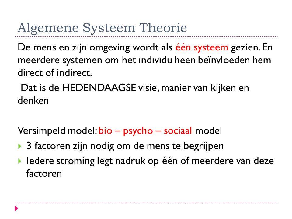 Algemene Systeem Theorie De mens en zijn omgeving wordt als één systeem gezien. En meerdere systemen om het individu heen beïnvloeden hem direct of in