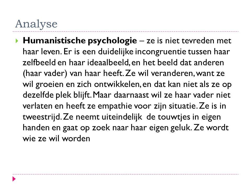 Analyse  Humanistische psychologie – ze is niet tevreden met haar leven. Er is een duidelijke incongruentie tussen haar zelfbeeld en haar ideaalbeeld