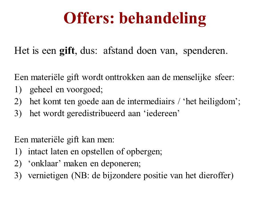 Offers: behandeling Het is een gift, dus: afstand doen van, spenderen.