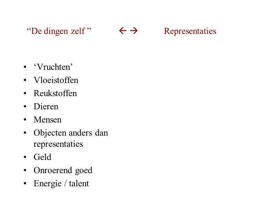 'Vruchten' Vloeistoffen Reukstoffen Dieren Mensen Objecten anders dan representaties Geld Onroerend goed Energie / talent De dingen zelf   Representaties