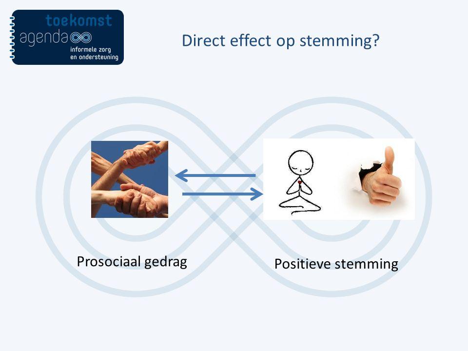 Direct effect op stemming? Prosociaal gedrag Positieve stemming