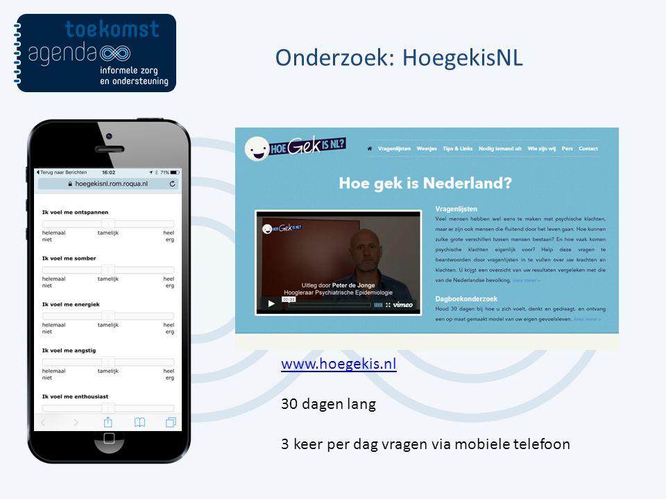 Onderzoek: HoegekisNL www.hoegekis.nl 30 dagen lang 3 keer per dag vragen via mobiele telefoon