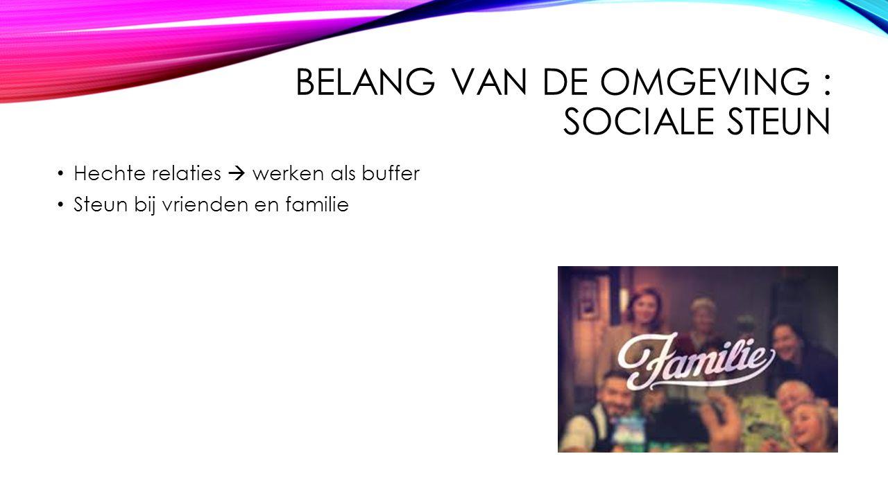 BELANG VAN DE OMGEVING : SOCIALE STEUN Hechte relaties  werken als buffer Steun bij vrienden en familie