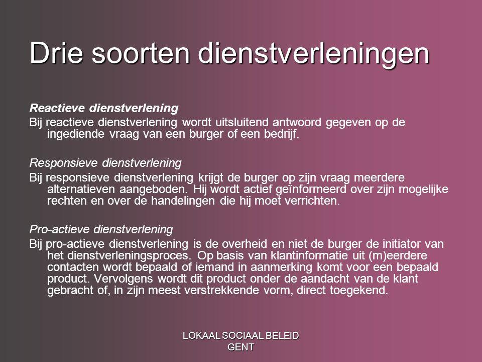LOKAAL SOCIAAL BELEID GENT Drie soorten dienstverleningen Reactieve dienstverlening Bij reactieve dienstverlening wordt uitsluitend antwoord gegeven op de ingediende vraag van een burger of een bedrijf.