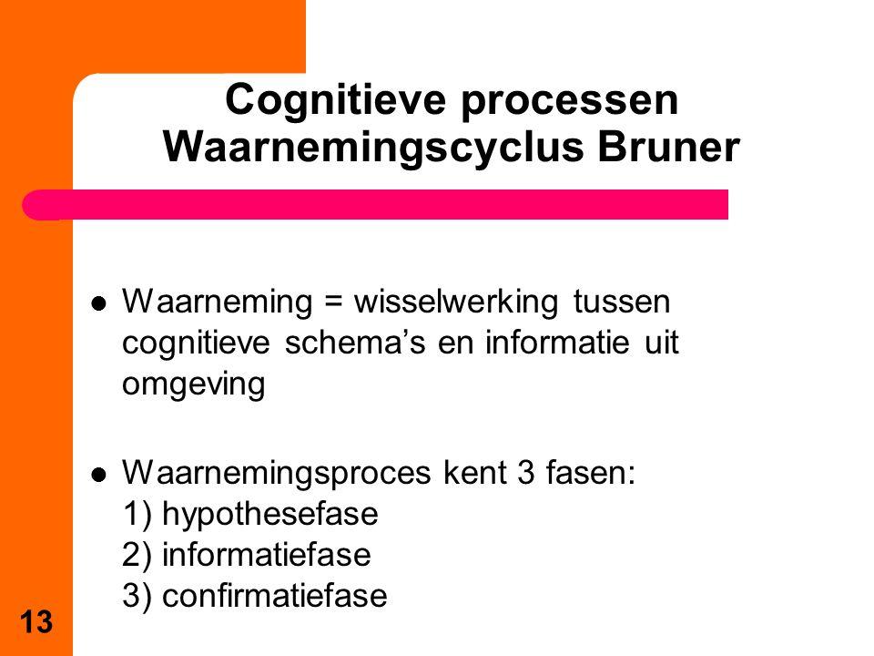 Waarneming = wisselwerking tussen cognitieve schema's en informatie uit omgeving Waarnemingsproces kent 3 fasen: 1) hypothesefase 2) informatiefase 3) confirmatiefase 13 Cognitieve processen Waarnemingscyclus Bruner