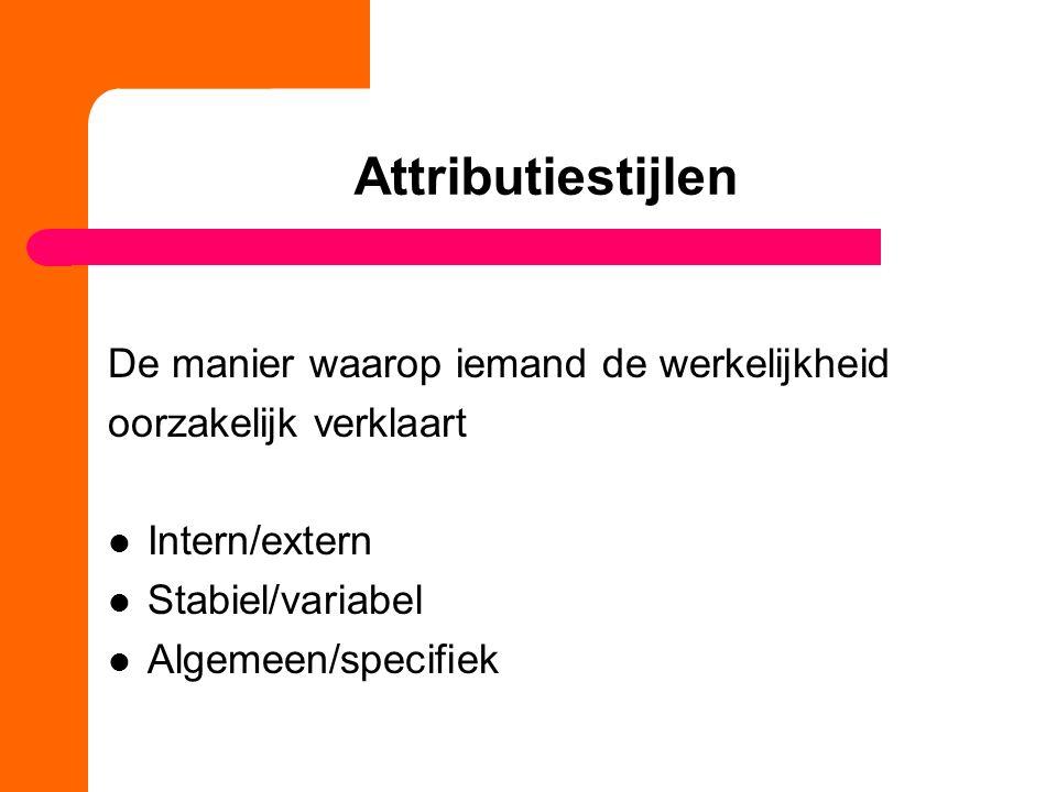 Attributiestijlen De manier waarop iemand de werkelijkheid oorzakelijk verklaart Intern/extern Stabiel/variabel Algemeen/specifiek