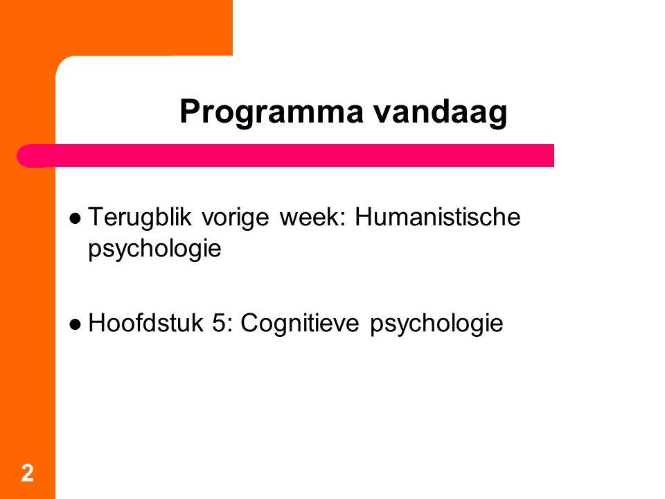 Terugblik vorige week: Humanistische psychologie Hoofdstuk 5: Cognitieve psychologie 2 Programma vandaag