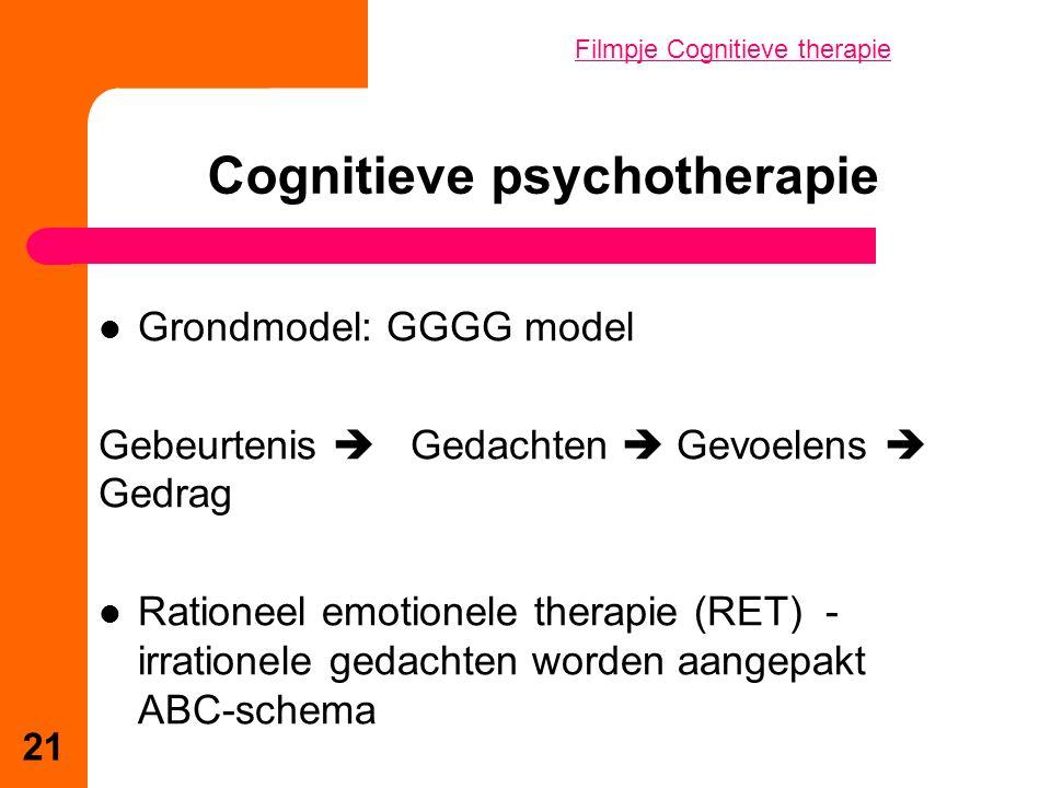Grondmodel: GGGG model Gebeurtenis  Gedachten  Gevoelens  Gedrag Rationeel emotionele therapie (RET) - irrationele gedachten worden aangepakt ABC-schema Cognitieve psychotherapie 21 Filmpje Cognitieve therapie