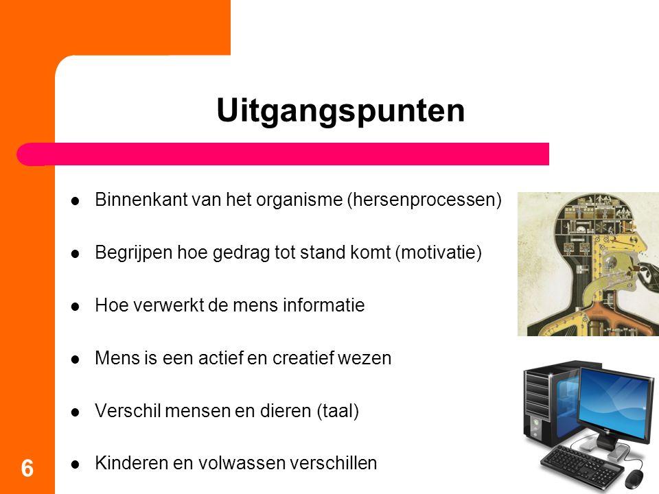 Uitgangspunten Binnenkant van het organisme (hersenprocessen) Begrijpen hoe gedrag tot stand komt (motivatie) Hoe verwerkt de mens informatie Mens is