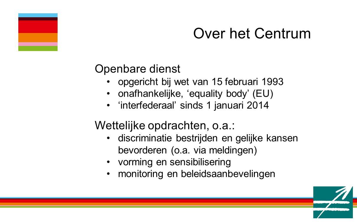 Over het Centrum Openbare dienst opgericht bij wet van 15 februari 1993 onafhankelijke, 'equality body' (EU) 'interfederaal' sinds 1 januari 2014 Wettelijke opdrachten, o.a.: discriminatie bestrijden en gelijke kansen bevorderen (o.a.