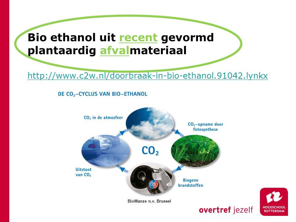 Bio ethanol uit recent gevormd plantaardig afvalmateriaal http://www.c2w.nl/doorbraak-in-bio-ethanol.91042.lynkx BioWanze n.v. Brussel