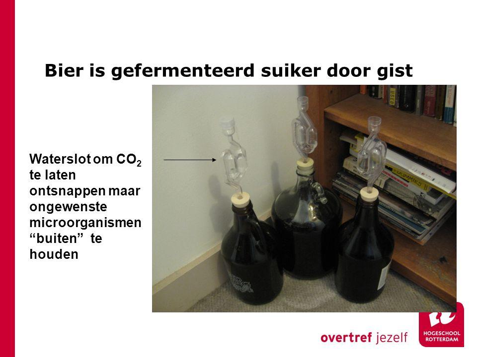 """Bier is gefermenteerd suiker door gist Waterslot om CO 2 te laten ontsnappen maar ongewenste microorganismen """"buiten"""" te houden"""