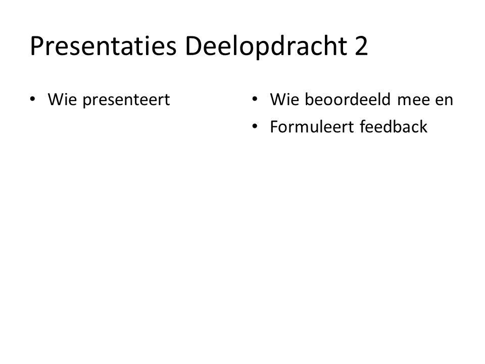 Presentaties Deelopdracht 2 Wie presenteert Wie beoordeeld mee en Formuleert feedback