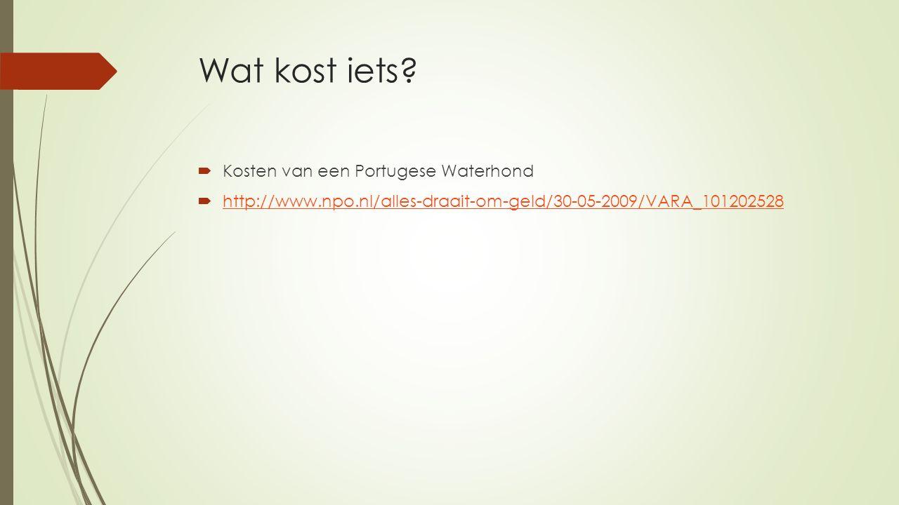 Wat kost iets?  Kosten van een Portugese Waterhond  http://www.npo.nl/alles-draait-om-geld/30-05-2009/VARA_101202528 http://www.npo.nl/alles-draait-