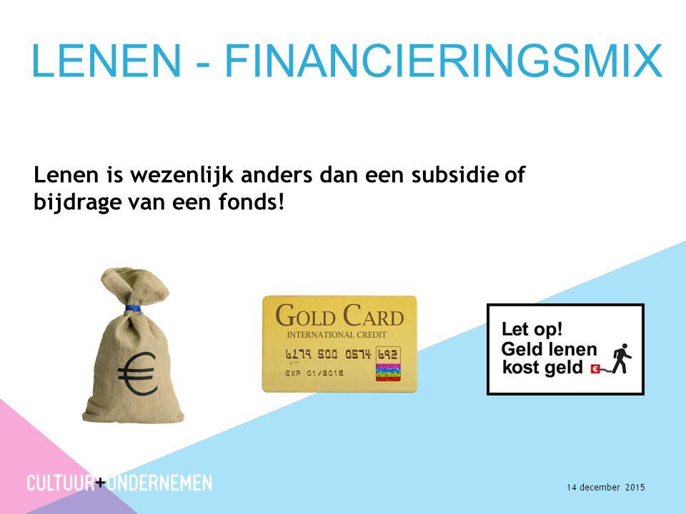 LENEN - FINANCIERINGSMIX Lenen is wezenlijk anders dan een subsidie of bijdrage van een fonds.