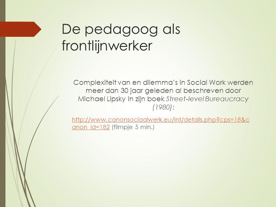 De pedagoog als frontlijnwerker Complexiteit van en dilemma's in Social Work werden meer dan 30 jaar geleden al beschreven door Michael Lipsky in zijn boek Street-level Bureaucracy (1980): http://www.canonsociaalwerk.eu/int/details.php?cps=18&c anon_id=182http://www.canonsociaalwerk.eu/int/details.php?cps=18&c anon_id=182 (filmpje 5 min.)