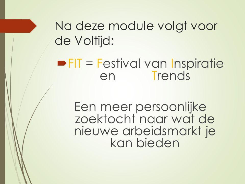 Na deze module volgt voor de Voltijd:  FIT = Festival van Inspiratie en Trends Een meer persoonlijke zoektocht naar wat de nieuwe arbeidsmarkt je kan bieden