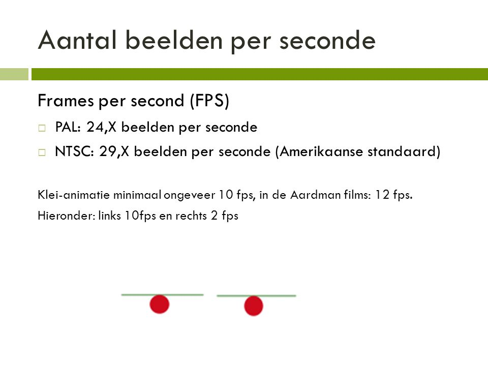 Aantal beelden per seconde Frames per second (FPS)  PAL: 24,X beelden per seconde  NTSC: 29,X beelden per seconde (Amerikaanse standaard) Klei-animatie minimaal ongeveer 10 fps, in de Aardman films: 12 fps.