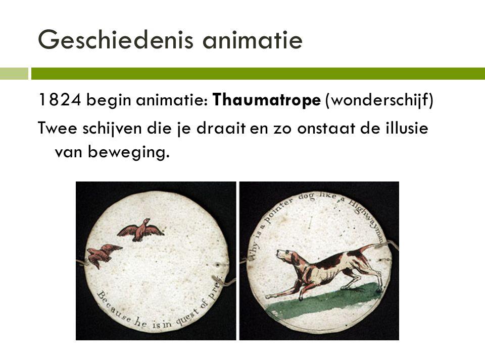 Geschiedenis animatie 1824 begin animatie: Thaumatrope (wonderschijf) Twee schijven die je draait en zo onstaat de illusie van beweging.
