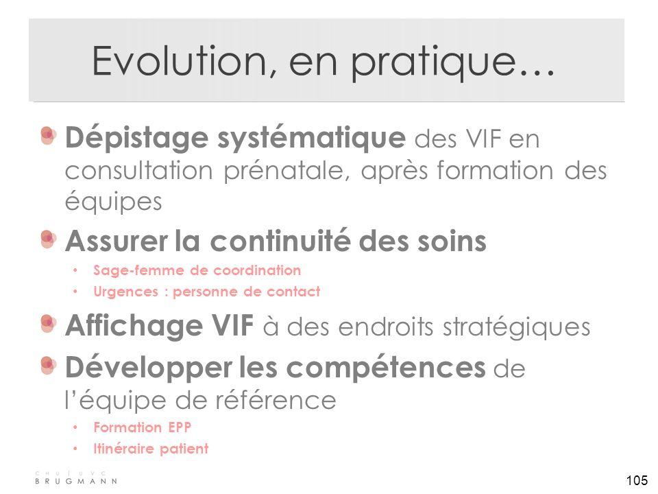 105 Evolution, en pratique… Dépistage systématique des VIF en consultation prénatale, après formation des équipes Assurer la continuité des soins Sage