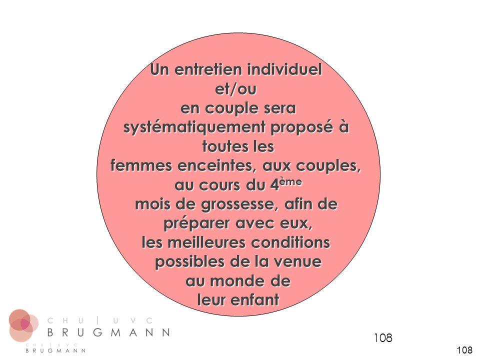 108 Un entretien individuel et/ou en couple sera systématiquement proposé à toutes les femmes enceintes, aux couples, au cours du 4 ème mois de grosse