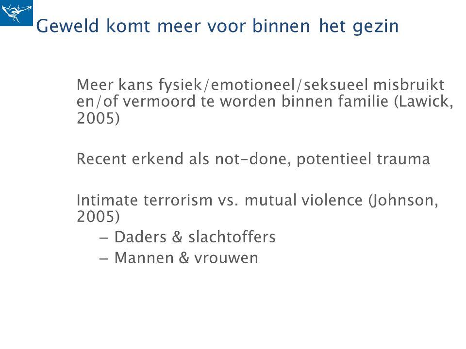 Geweld komt meer voor binnen het gezin Meer kans fysiek/emotioneel/seksueel misbruikt en/of vermoord te worden binnen familie (Lawick, 2005) Recent er
