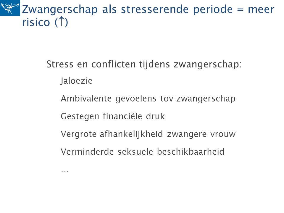 Zwangerschap als stresserende periode = meer risico (  ) Stress en conflicten tijdens zwangerschap: Jaloezie Ambivalente gevoelens tov zwangerschap G