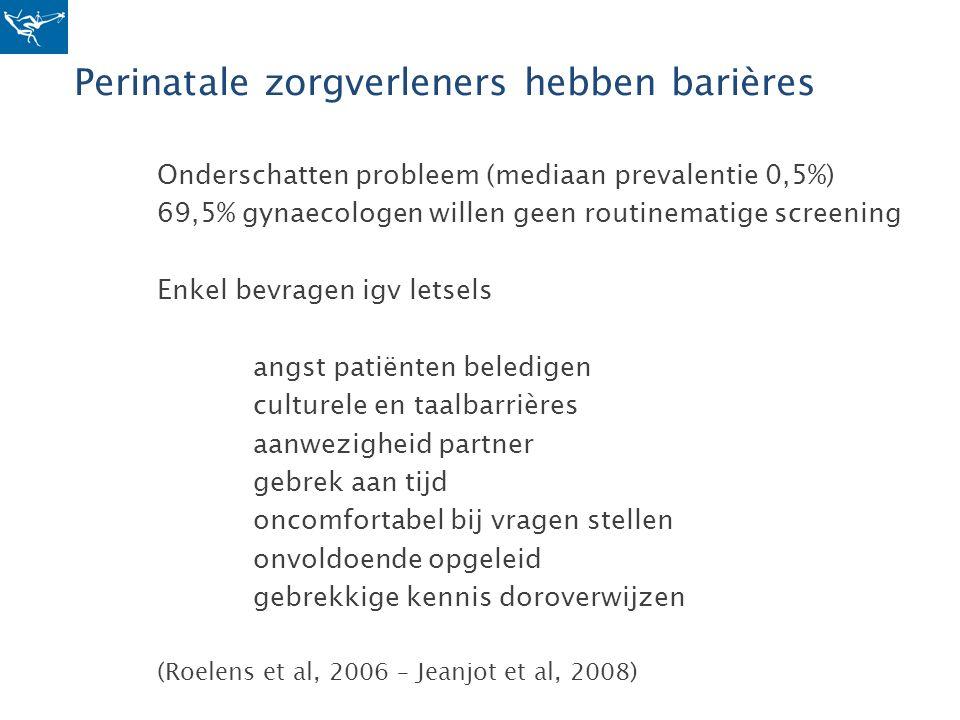 Perinatale zorgverleners hebben barières Onderschatten probleem (mediaan prevalentie 0,5%) 69,5% gynaecologen willen geen routinematige screening Enke