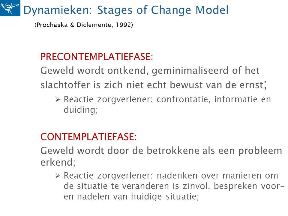 Dynamieken: Stages of Change Model (Prochaska & Diclemente, 1992) PRECONTEMPLATIEFASE: Geweld wordt ontkend, geminimaliseerd of het slachtoffer is zic