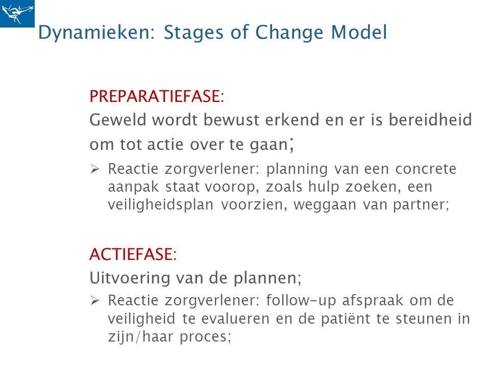 Dynamieken: Stages of Change Model PREPARATIEFASE: Geweld wordt bewust erkend en er is bereidheid om tot actie over te gaan ;  Reactie zorgverlener: