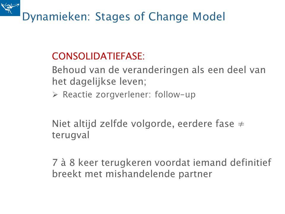 Dynamieken: Stages of Change Model CONSOLIDATIEFASE: Behoud van de veranderingen als een deel van het dagelijkse leven;  Reactie zorgverlener: follow