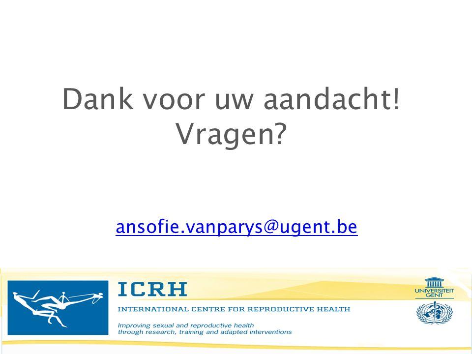 Dank voor uw aandacht! Vragen? ansofie.vanparys@ugent.be