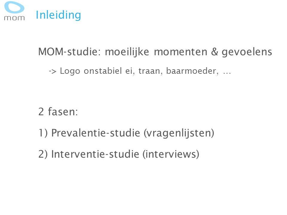 Inleiding MOM-studie: moeilijke momenten & gevoelens -> Logo onstabiel ei, traan, baarmoeder, … 2 fasen: 1) Prevalentie-studie (vragenlijsten) 2) Inte