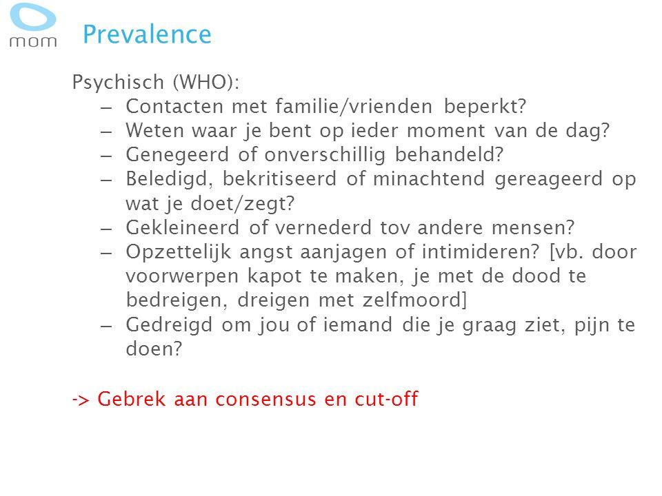 Prevalence Psychisch (WHO): – Contacten met familie/vrienden beperkt? – Weten waar je bent op ieder moment van de dag? – Genegeerd of onverschillig be