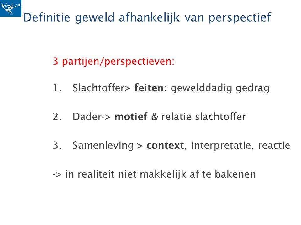 Definitie geweld afhankelijk van perspectief 3 partijen/perspectieven: 1.Slachtoffer> feiten: gewelddadig gedrag 2.Dader-> motief & relatie slachtoffe