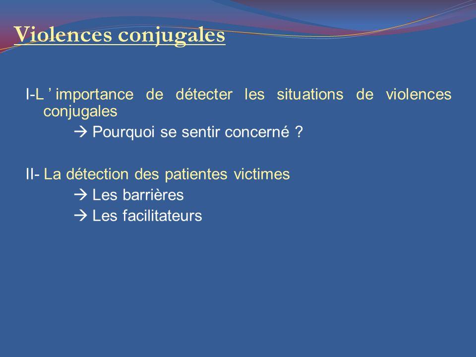 Violences conjugales I-L'importance de détecter les situations de violences conjugales  Pourquoi se sentir concerné ? II- La détection des patientes