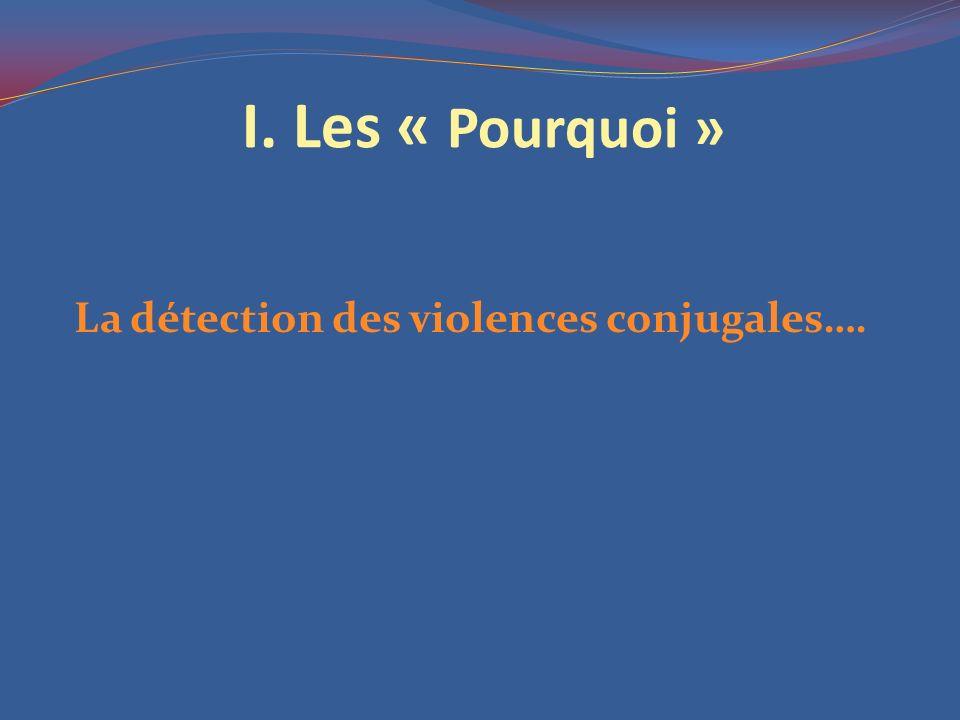 I. Les « Pourquoi » La détection des violences conjugales….