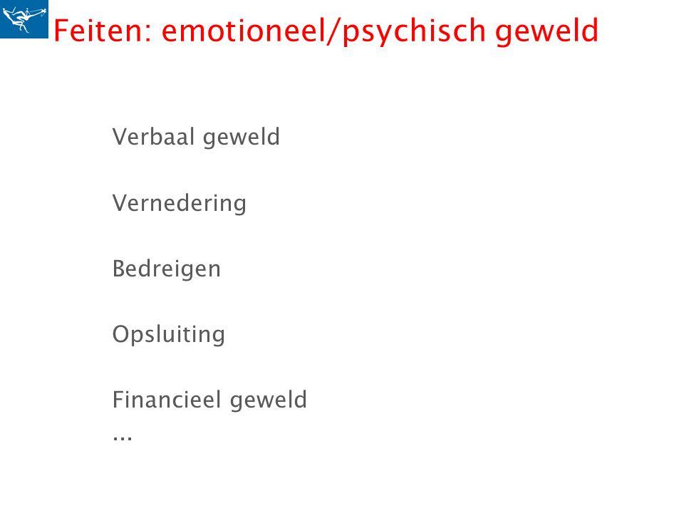 Feiten: emotioneel/psychisch geweld Verbaal geweld Vernedering Bedreigen Opsluiting Financieel geweld...